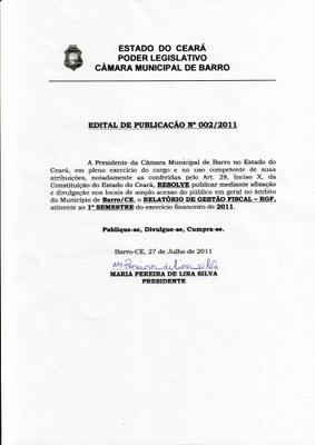 Edital de Publicação nº 002/2011